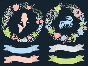 Sea Wreath Clipart - Digital Vector Sea, Nautical, Mermaid, Crab, Ocean Clip Art