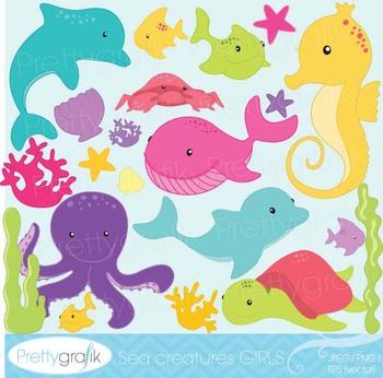 Sea animal clipart commercial use, vector graphics, digital clip art - CL516