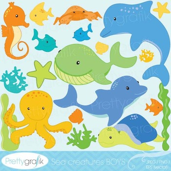Sea animal clipart for scrapbooking, commercial use, vecto