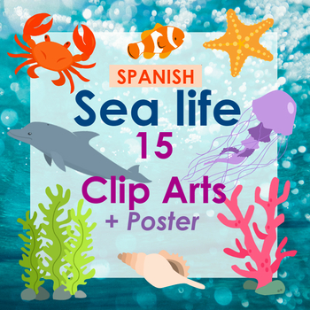 Sea animals Clipart / PNGs and Poster (SPANISH)