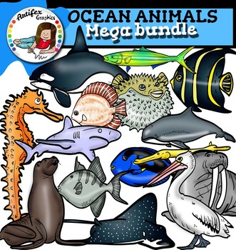Ocean animals clip art Mega bundle- 100 items!