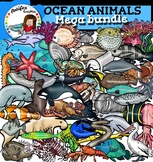 Ocean animals clip art Big set- 100 items!