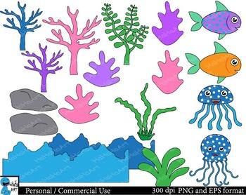 Sea animals Set Clipart Digital Clip Art Graphics 67 images cod65
