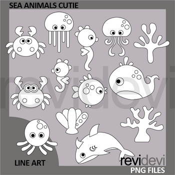 Sea animals clip art black and white - oceans animals