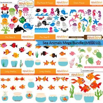 Sea animals clip art mega bundle (9 packs)