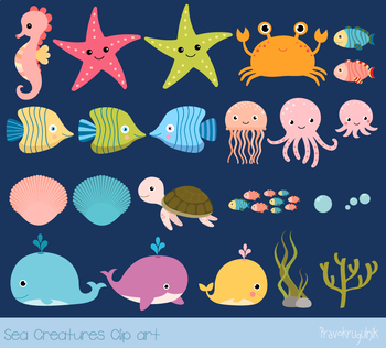 Sea animals clipart, Under the sea clip art set, Seahorse, turtle, whales crab