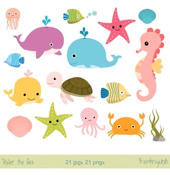 Sea animals clipart, Under the sea clip art set, Seahorse,