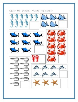 Sea animals in English worksheets