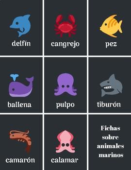 Sea animals in Spanish - Animales marinos en español para nivel preescolar