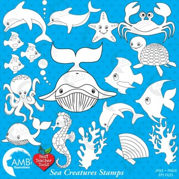 Sea Creatures Digital Stamps, Under the Sea Outline, Black Line, AMB-463