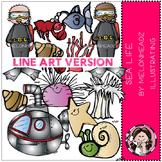 Sea life clip art - LINE ART - by Melonheadz