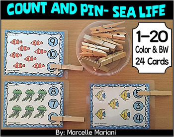 Sea life Math Center Activities- Count and Pin (1-20)