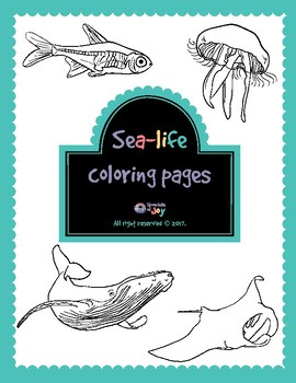 Sea-life coloring pages - whale, manta ray, jellyfish, x-ray fish