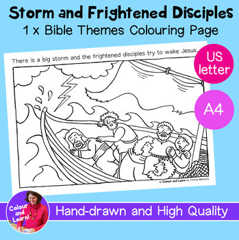 """Jesus+ Disciples, Storm"" Bible Coloring Sheet/Colouring Page (Religious/Church)"