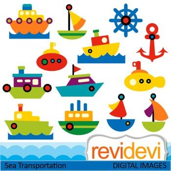 Sea transportation clip art (boat, ship) teacher resource clipart