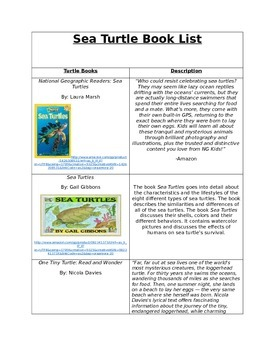 Sea turtle book list and pre and post test