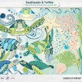 SeaHorse & Turtles Clip Art, Ocean Animals, Under the Sea ClipArt Creatures