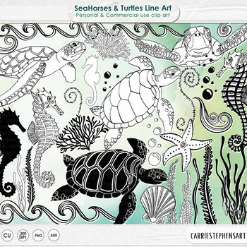 SeaHorse & Turtles LineArt, Ocean Animals Outlines, Sea Life Digital Stamps