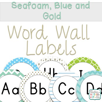 Word Wall Seafoam, Blue and Gold