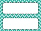 Seafoam Green Chevron Classroom Tags and Labels