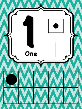 Seafoam Green Chevron Number Posters 1-20