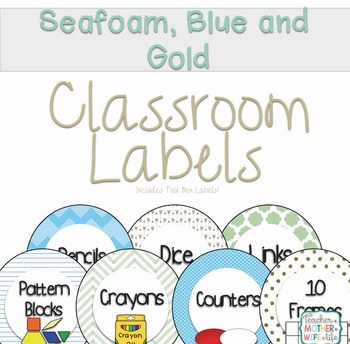 Classroom labels Seafoam, blue and gold