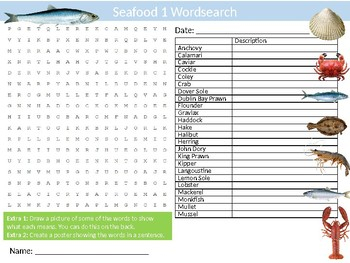 Seafood #1 Wordsearch Sheet Starter Activity Keywords Sea Food Cooking