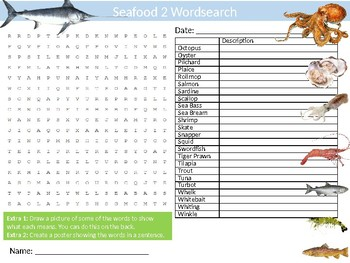 Seafood #2 Wordsearch Sheet Starter Activity Keywords Sea Food Cooking