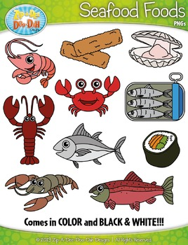 Seafood Foods Clipart Set — Includes 20 Graphics!
