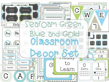 Classroom Decor Seafoam Green, Blue and Gold