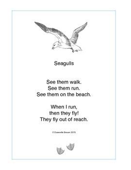 Seagulls: a preschool poem printable