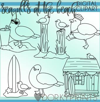 Seagulls at the Beach Blackline Clipart