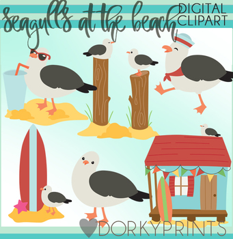 Seagulls at the Beach Clipart