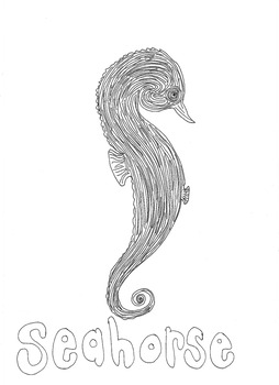 Seahorse: Animals and Pets: Colouring Page