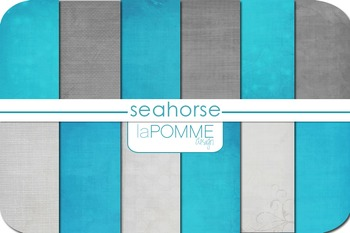 Seahorse Bright Blue & Gray Summer Patterned Digital Paper Pack