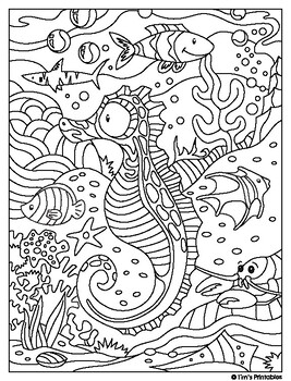 Top 10 Free Printable Seahorse Coloring Pages Online | 350x267