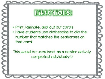 Seahorse Counting Clip Cards