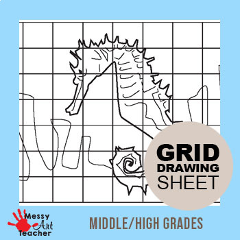 Seahorse Grid Drawing Worksheet for Middle/High Grades