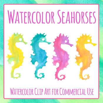 Seahorse Watercolor Clip Art Set for Commercial Use