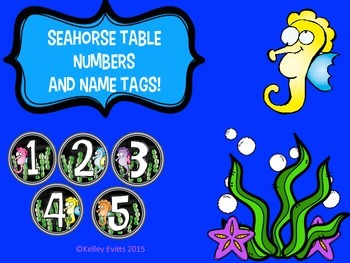 Seahorse table numbers and name tags!