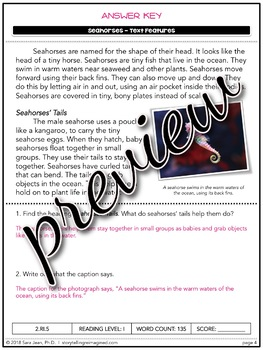 Seahorses Reading Comprehension Passage & Questions Nonfiction Text