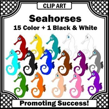 Seahorses Clip Art, Beach Clipart