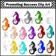 Seahorses in Rainbow Colors Clip Art for Summer Beach or O
