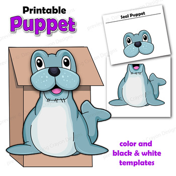 Seal Craft Activity | Printable Paper Bag Puppet