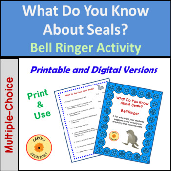 Seal Facts Anticipation Activity