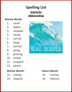 Seal Surfer Spelling Activities (Added Endings- ed, ing, es)