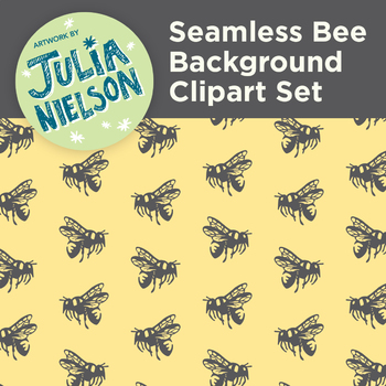 Seamless Bee Background Clipart Set