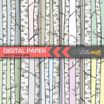 Seamless Birch Forest Digital Paper