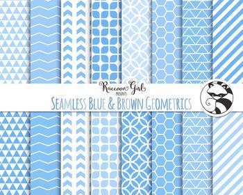 Seamless Blue & Brown Geometric Pattern Digital Paper Set