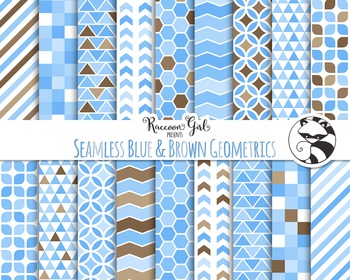 Seamless Blue & Brown Geometric Pattern Digital Paper Set